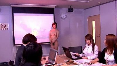 オフィスに一人だけ全裸の女性がいるCMNFサンプル28